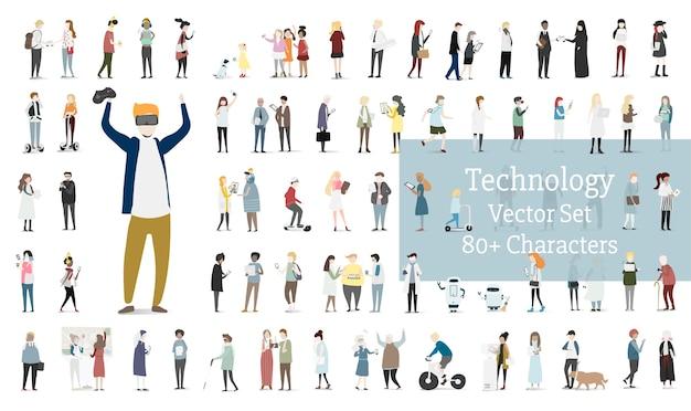 Conjunto de ilustração do vetor de avatar humano