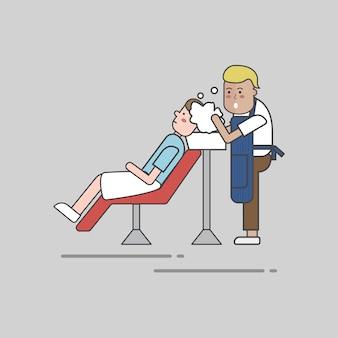 Conjunto de ilustração do vetor de loja de barbeiro