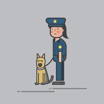 Conjunto de ilustração do vetor de polícia