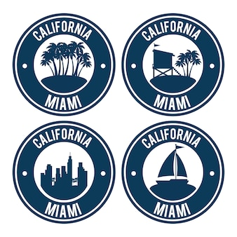 Conjunto de ilustração do vetor de selos de miami beach califórnia