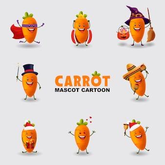 Conjunto de ilustração dos desenhos animados da mascote cenoura em vários pose isolado fundo