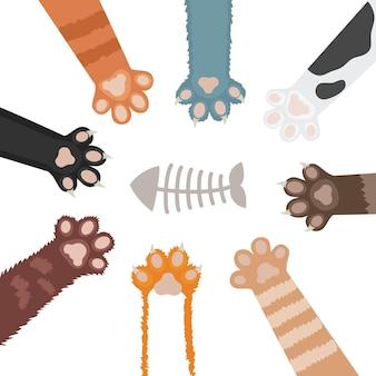 Conjunto de ilustração dos desenhos animados de pata de gatos. pé de animal doméstico
