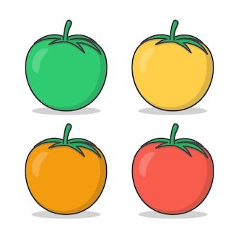 Conjunto de ilustração dos tomates frescos. tomates de cores diferentes