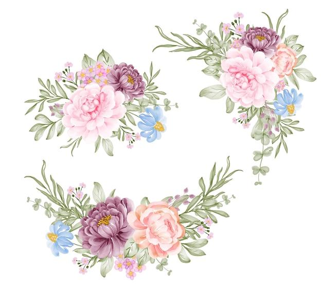 Conjunto de ilustração em aquarela de arranjo de flor rosa roxa