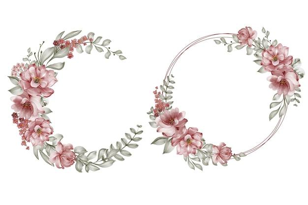 Conjunto de ilustração em aquarela de coroa de flores rosa cor de vinho