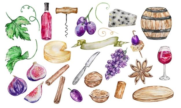 Conjunto de ilustração em aquarela de elementos individuais de vidro, barril de vinho, bandeja, uvas, queijo e especiarias