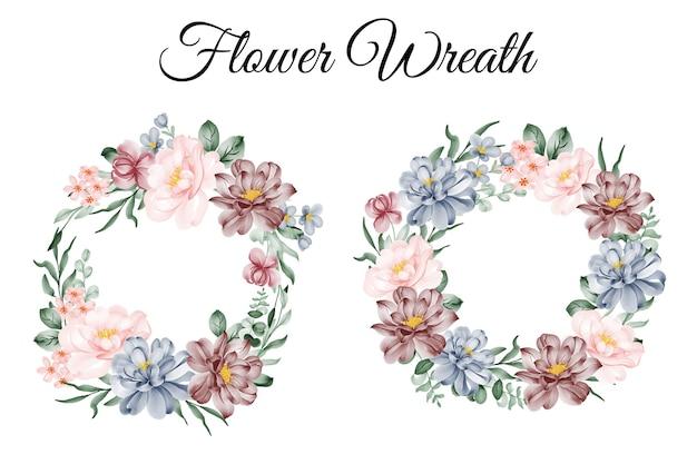 Conjunto de ilustração em aquarela de guirlanda de flores rosa azul bordô