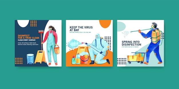 Conjunto de ilustração em aquarela de segurança coronavirus