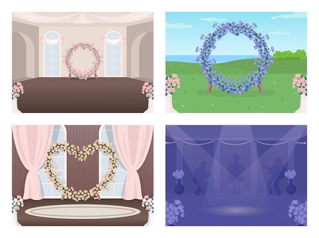 Conjunto de ilustração em cores planas decorada para local de casamento