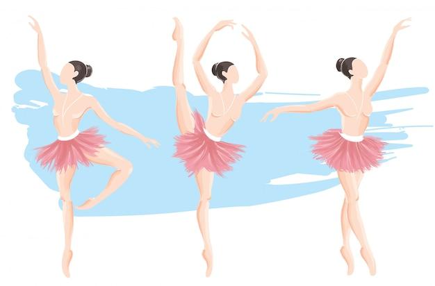 Conjunto de ilustração em vetor bailarina mulher