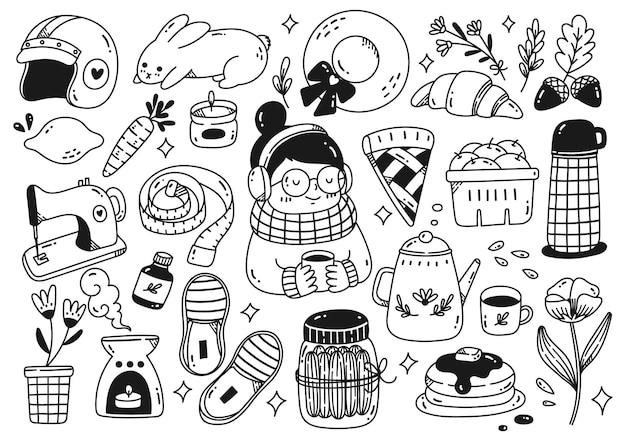 Conjunto de ilustração em vetor coleção doodle objeto kawaii