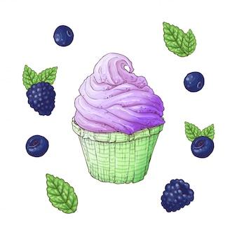 Conjunto de ilustração em vetor cone sorvete.
