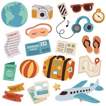 Conjunto de ilustração em vetor doodle viagens