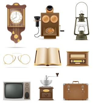 Conjunto de ilustração em vetor estoque objetos antigos retro vintage elementos