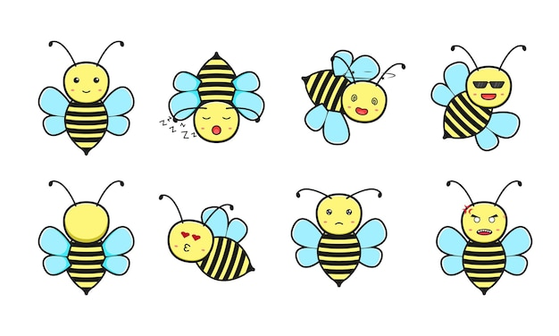 Conjunto de ilustração em vetor ícone bonito dos desenhos animados de abelha. design isolado no branco. estilo liso dos desenhos animados.