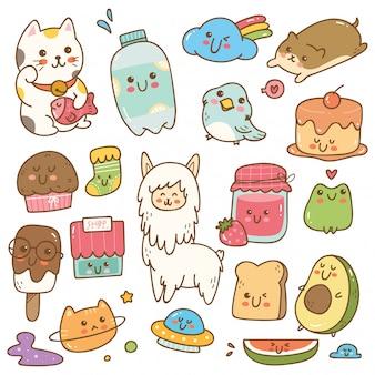 Conjunto de ilustração em vetor kawaii doodle