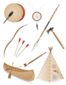 Conjunto de ilustração em vetor objetos índios americanos