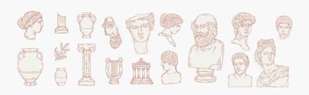 Conjunto de ilustração estética mão desenhada de estátuas de mármore grego. esculturas do corpo humano e elementos arquitetônicos. deuses gregos e mitologia, elementos de design gráfico da grécia antiga.