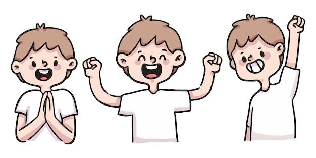 Conjunto de ilustração feliz, animado e bem sucedido menino bonito dos desenhos animados
