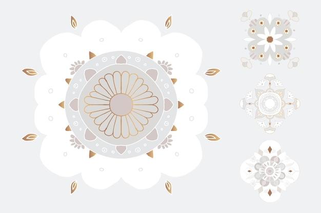 Conjunto de ilustração floral de símbolo indiano de mandala