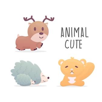 Conjunto de ilustração fofa animal