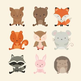 Conjunto de ilustração fofa de animais da floresta