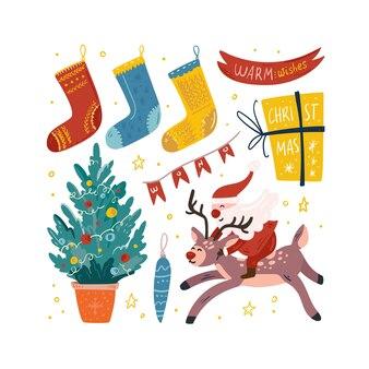 Conjunto de ilustração fofa de natal