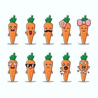Conjunto de ilustração gráfica bonito cenoura mascotes