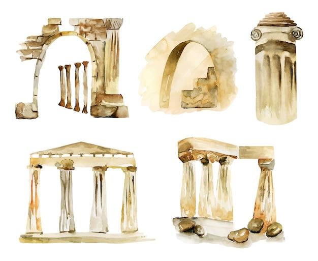Conjunto de ilustração isolada de elementos arquitetônicos antigos em aquarela