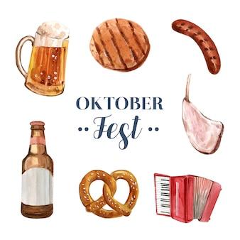 Conjunto de ilustração isolado oktoberfest aquarela
