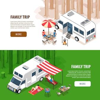 Conjunto de ilustração isométrica de dois banners horizontais de viagem em família