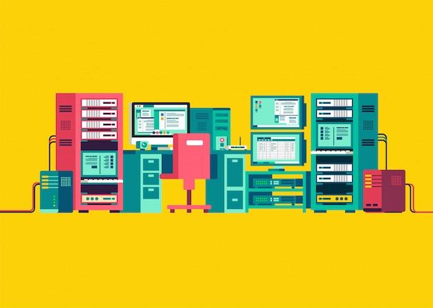 Conjunto de ilustração isométrica de servidor de computador