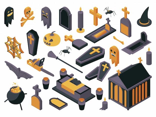 Conjunto de ilustração isométrica de símbolos de halloween.