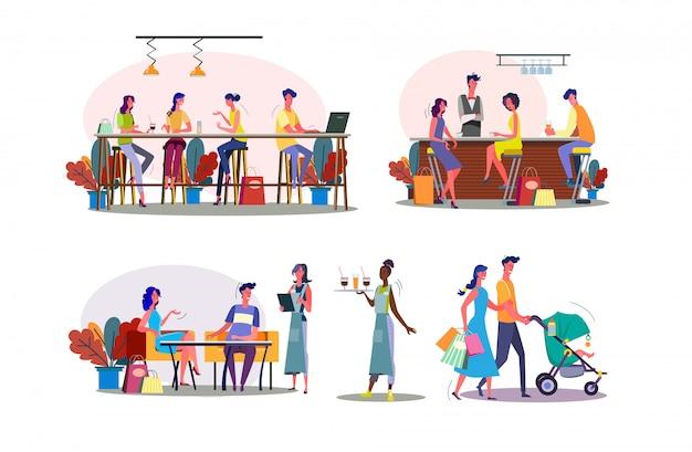 Conjunto de ilustração juntos de tempo de lazer