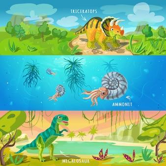 Conjunto de ilustração jurássica de animais