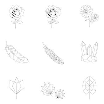 Conjunto de ilustração linear de natureza