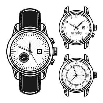 Conjunto de ilustração monocromática de relógios mecânicos masculinos