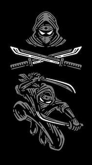 Conjunto de ilustração ninja em fundo escuro