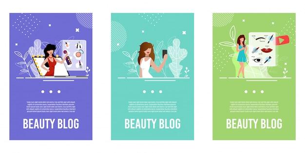 Conjunto de ilustração para blogueiros de beleza