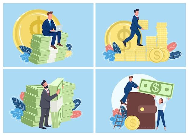 Conjunto de ilustração plana conceito de pessoas ricas. sucesso financeiro e carreira. empresários com pilha de moedas e dinheiro personagens de desenhos animados 2d para coleção de web design. ideia criativa