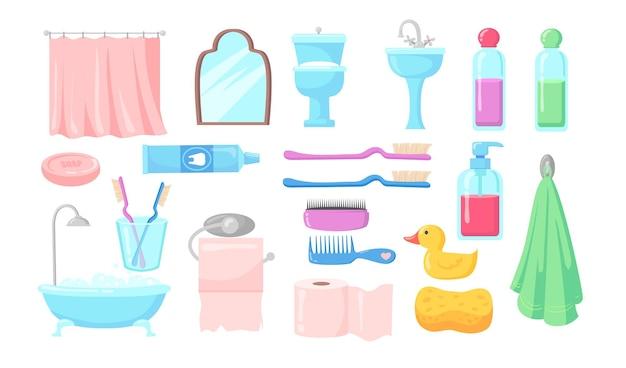 Conjunto de ilustração plana de acessórios de banho