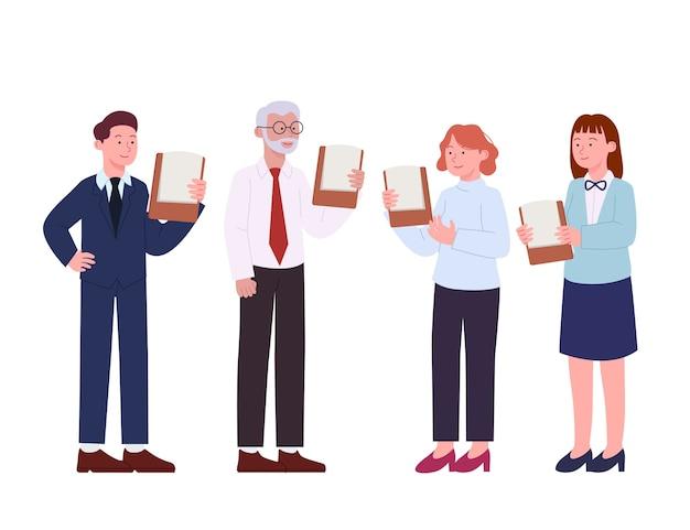 Conjunto de ilustração plana de apresentação de discussão de trabalhador de escritório
