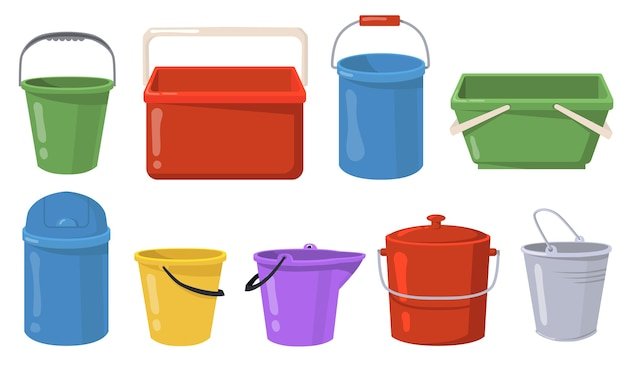 Conjunto de ilustração plana de baldes de aço e plástico. recipientes de metal dos desenhos animados e baldes para a coleção de ilustração vetorial de água ou lixo isolado. conceito de vasos e coisas
