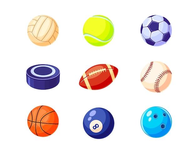 Conjunto de ilustração plana de bolas coloridas criativas