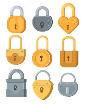 Conjunto de ilustração plana de cadeados de metal de diferentes formas