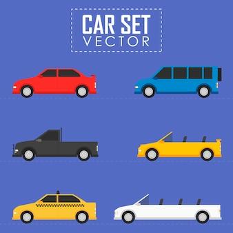 Conjunto de ilustração plana de conceito de carro automóvel