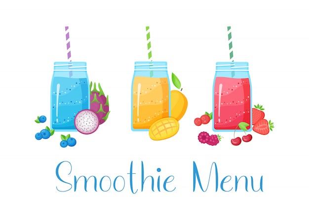 Conjunto de ilustração plana de coquetel de frutas batido