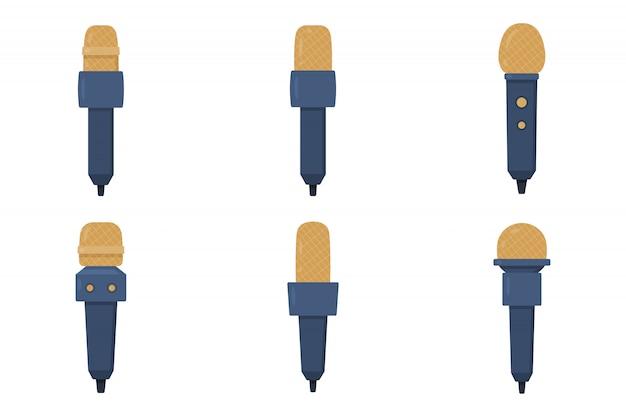 Conjunto de ilustração plana de microfones