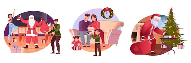 Conjunto de ilustração plana de natal