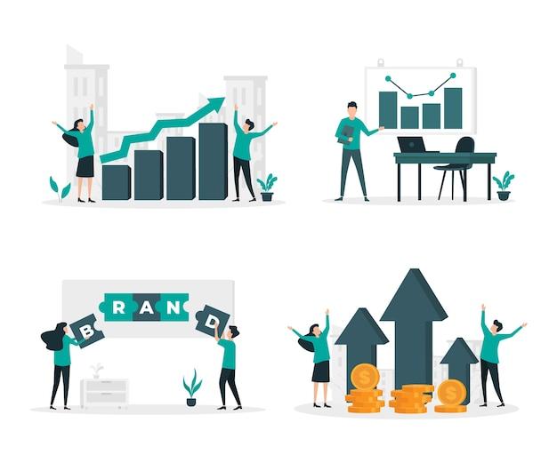 Conjunto de ilustração plana de negócios e finanças
